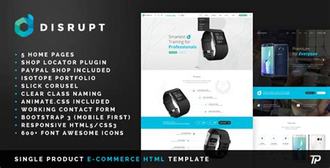 Disrupt Single Product E Commerce Html Template By Themeplayers Themeforest Single Product Ecommerce Website Template