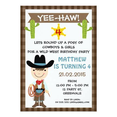 cowboy birthday invitation zazzle