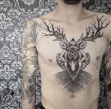 full chest piece tattoo designs stag chest school chest