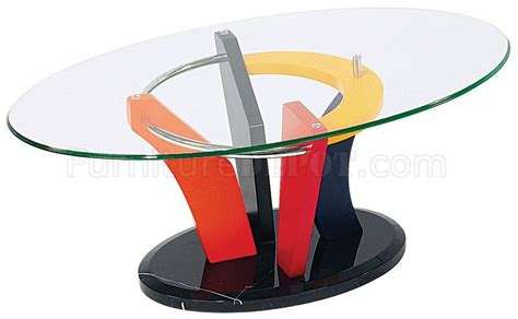 colorful artistic coffee table with oval glass top