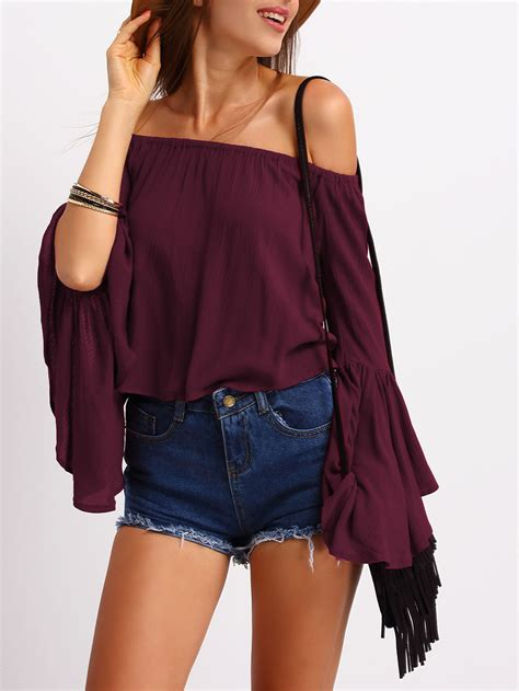 Bell Sleeve Shoulder Top burgundy the shoulder bell sleeve topfor romwe