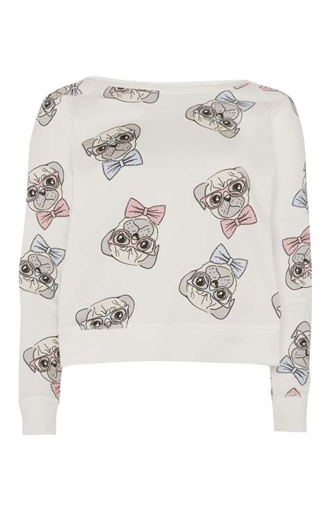 primark pug don this primark s hugs and pugs pyjama sweatshirt while sleeping