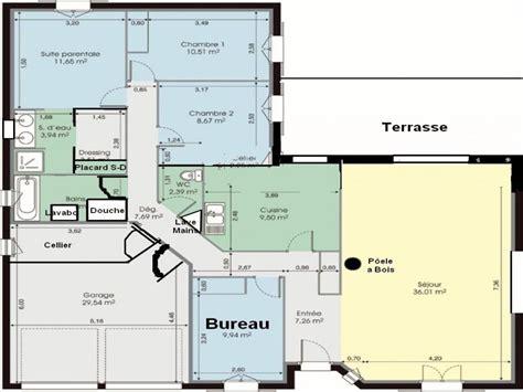 Plan De Maison Plain Pied 4 Chambres 3547 by Chambre Plan Maison 4 Chambres Lgant Plan Maison En L De