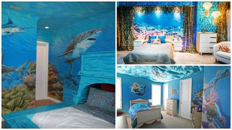 home design sea theme mural bedroom fine murals under the sea with a beach hut