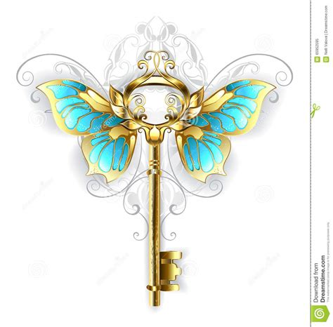 butterfly key template golden key with butterfly wings stock vector image 65952595