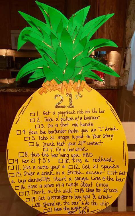 birthday themed drinking games 21st birthday pineapple checklist sign sorority life