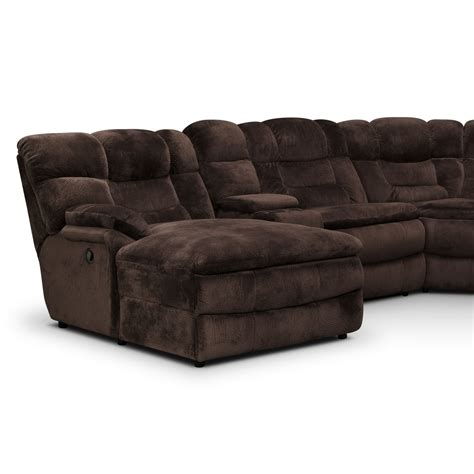 chocolate brown sectional sofa with chaise big softie 6 piece power reclining sectional with left