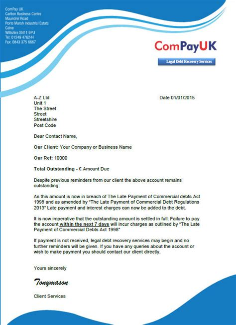 Loan Recovery Letter To Bank Free Debt Recovery