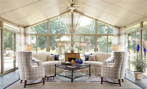 fireplace seating ideas warm cream sunroom interior design with great seating and