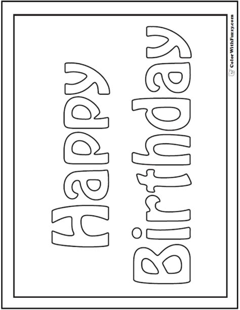 color in birthday card template 55 birthday coloring pages customizable pdf