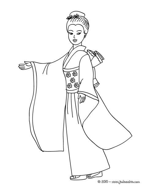 imagenes japonesas en dibujo coloriages coloriage princesse japonaise fr hellokids com