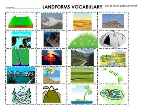 Landscape Definition In Science Landforms Cut Paste Definitions Flash Cards 20 Words