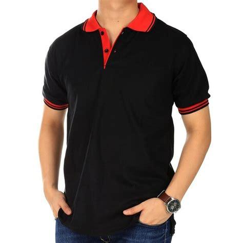 Kaos Pria kaos kerah polos warna hitam kerah kombinasi polo polos