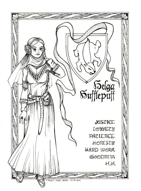 harry potter coloring pages hufflepuff helga hufflepuff by shyangell on deviantart