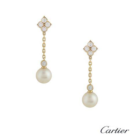 18k Gold Drop Earring cartier 18k yellow gold pearl drop earrings