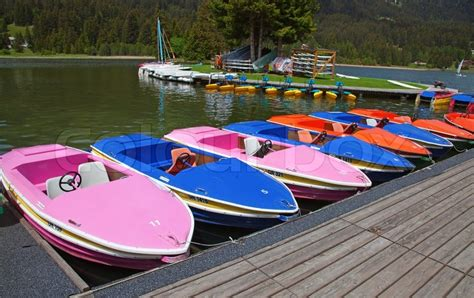 small boat paddle paddle boats on the small rent station stock photo