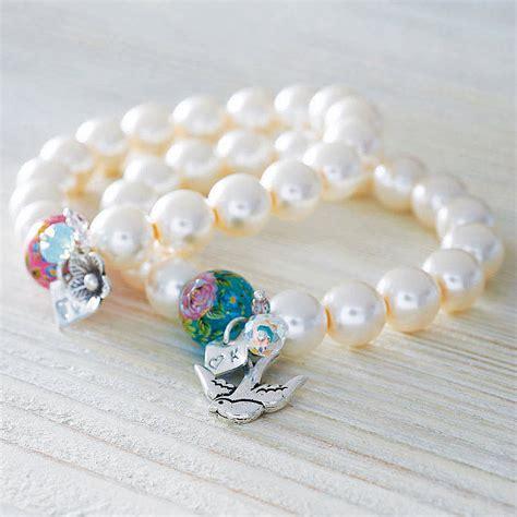 Bracelet Handmade - original handmade pearl bracelet with silver initial jpg
