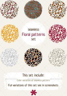 vintage floral pattern set of 5 vector vintage
