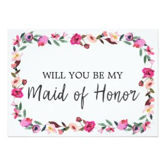 will you be my of honor card template will you be my of honor cards zazzle