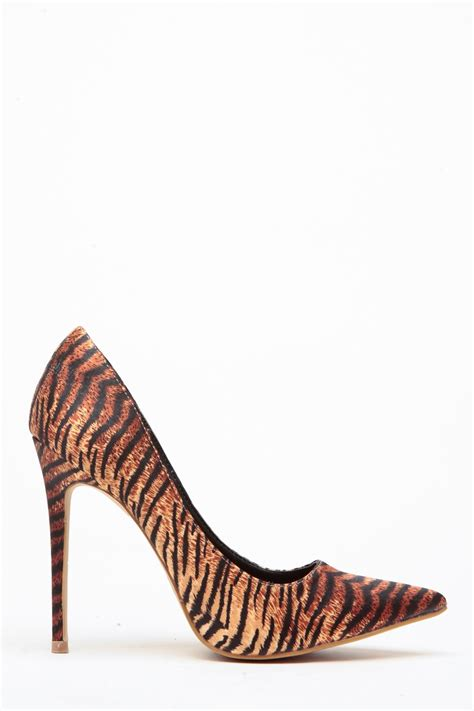 tiger print high heels tiger print faux suede pointy toe classic pumps cicihot