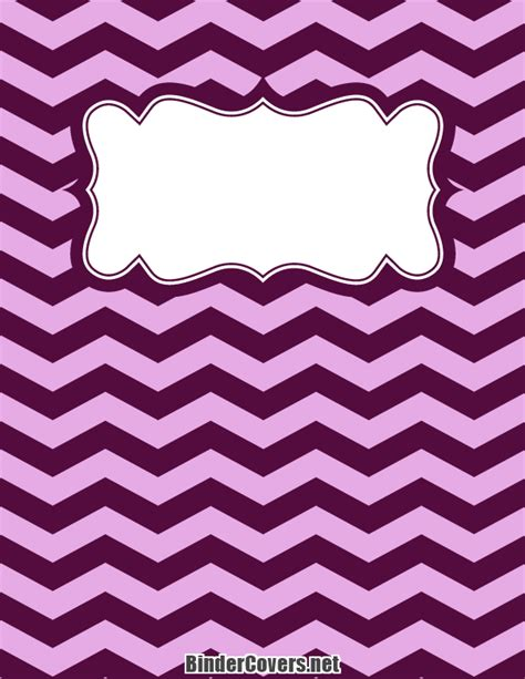 printable purple chevron binder cover