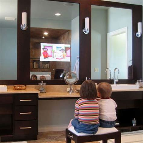 tv in mirror in bathroom bathroom mirrors with built in tvs by seura digsdigs