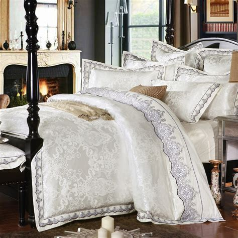 King Size Bedding Set 6 Sunnyrain 4 6 Pieces White Jacquard Silk Cotton Luxury Bedding Set King Size Bed Set Lace