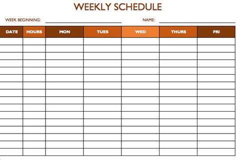7 day schedule template weekly schedule template 7 days calendar template 2016