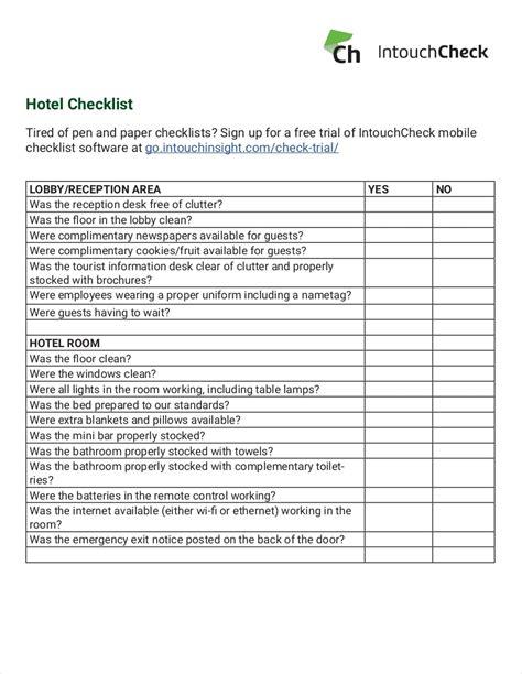 9 Hotel Checklist Exles Pdf Hotel Security Checklist Template