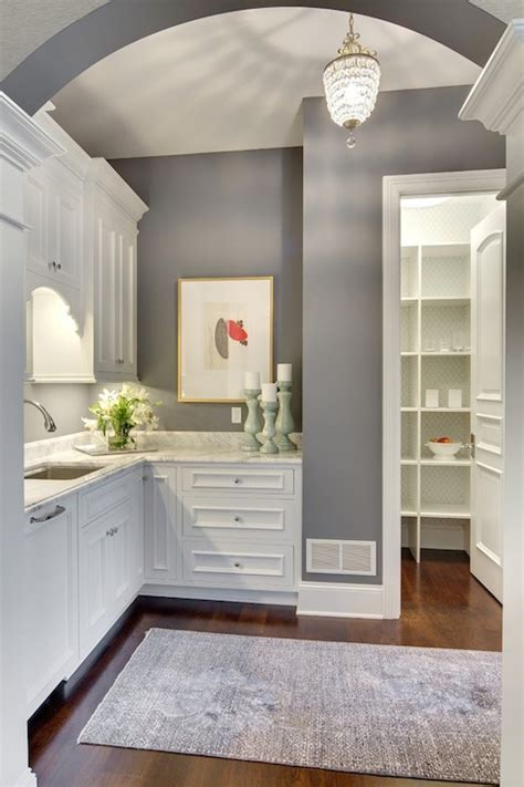 white  gray butlers pantry transitional kitchen