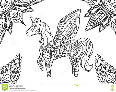 unicorn with mandala and paisley ornament horizontal