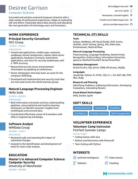 computer science curriculum vitae sle computer science resume 2018 guide exles