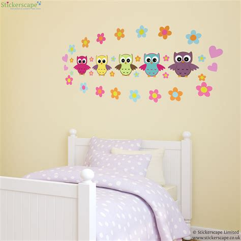 flower wall stickers uk owl and flowers wall sticker stickerscape uk