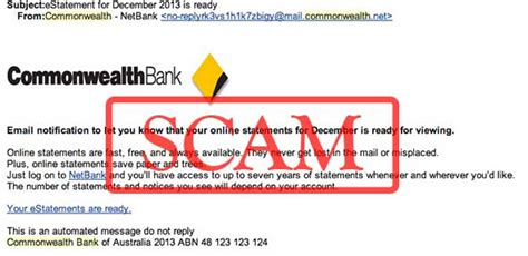 commonwealth bank mailing address phishing alert commonwealth bank estatement is ready