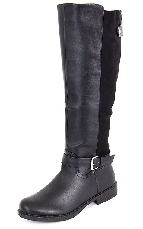 womens knee high faux suede flat winter buckle boots black new ladies women knee high long boots suede leather faux