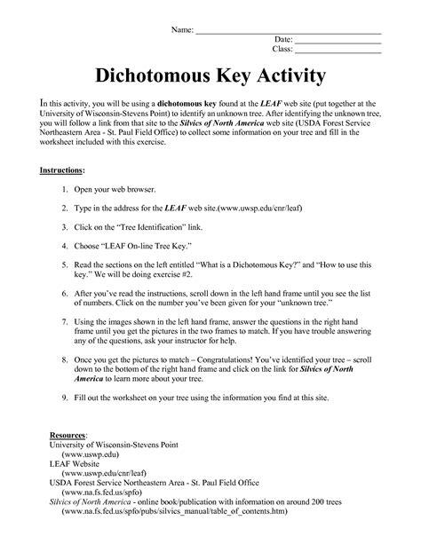Dichotomous Key Worksheet by Dichotomous Key Worksheets Deployday