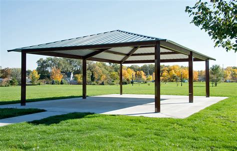 Metal Frame Shelters by Pre Fabricated Rectangle Steel Picnic Shelter Apc Shelters