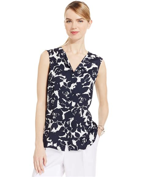 Ny Collection Floral Print Blouse lyst jones new york collection sleeveless split neck