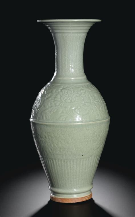 Vase Auction by A Longquan Celadon Vase Yuan Dynasty China