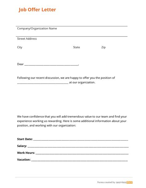 Offer Letter Form business form template gallery