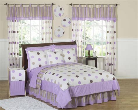 girls queen comforter purple brown polka dot circle bedding twin full queen