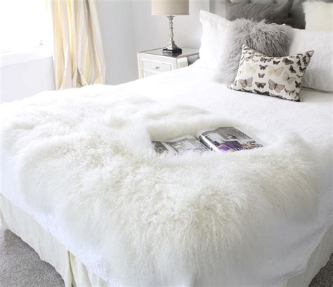 genuine white mongolian lambskin fur bed runners