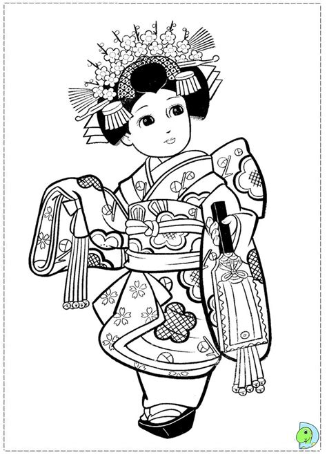 japanese girl kimono coloring page japanese girl coloring page dinokids org