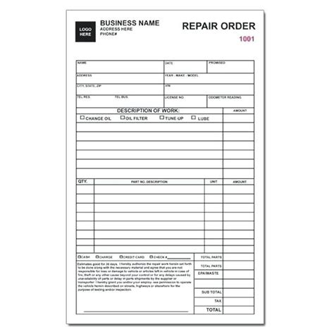 auto repair orders forms charlotte clergy coalition