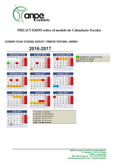 Calendario Escolar Secundaria Cantabria 2016 Calendario Secundaria 2016 2017 Cantabria Imagenes