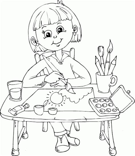 schoolgirl painting at desk coloring page coloring com