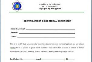 certificate of moral character template 6 character certificate templates certificate templates