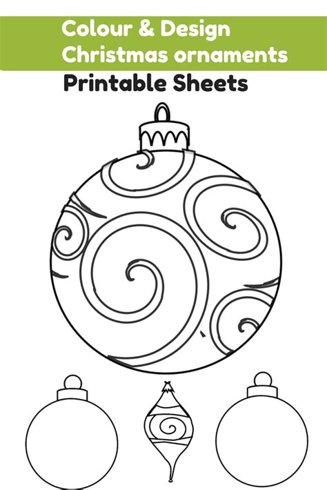 baubles to colour in colour and design your own ornaments printables