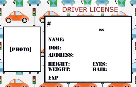 6 best images of drivers license printable template kids