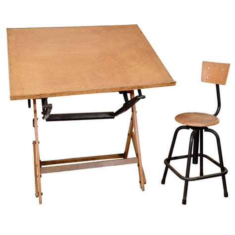 Wood Drafting Table Antique Wood Drafting Table And Stool At 1stdibs